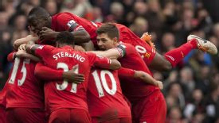 Liverpool celebrate their outstanding performance versus Arsenal.