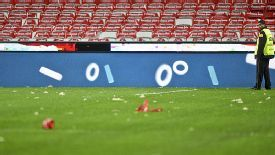 Debris on the Estadio Da Luz pitch