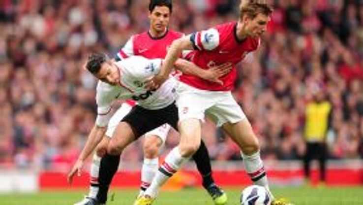 Per Mertesacker and Robin van Persie Arsenal vs Man Utd