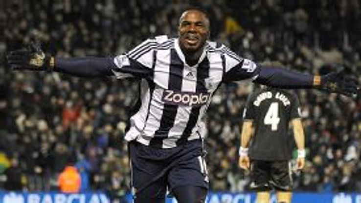 Victor Anichebe celebrates his late leveller for West Brom against Chelsea.