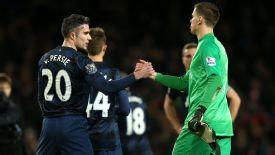 Wojciech Szczesny and Robin van Persie Arsenal-Man Utd.