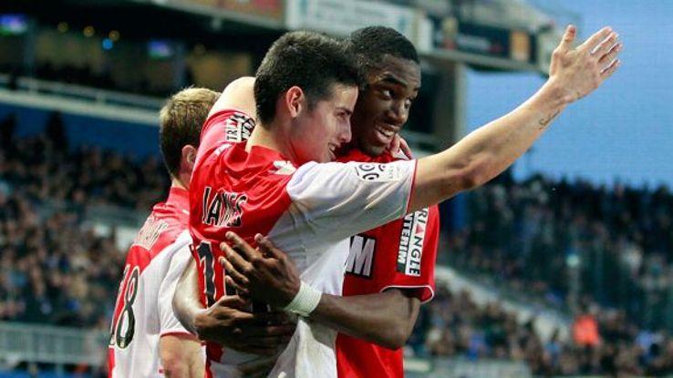 James Rodriguez scored both goals as Monaco beat Bastia.