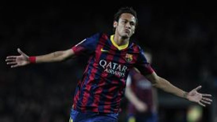 Neymar celebrates after scoring Barcelona's sixth of the night.