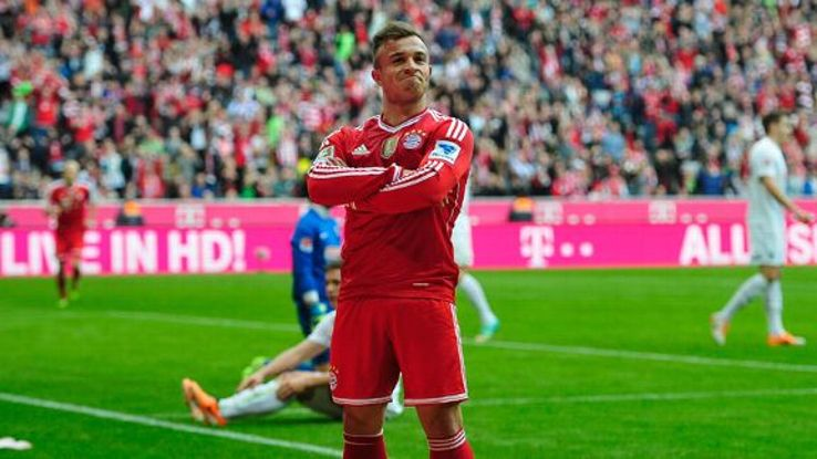 Xherdan Shaqiri celebrates his first goal in the victory over Freiburg.