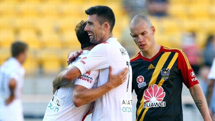 Jason Hoffman and Rob Wielaert celebrate Melbourne Heart's victory.