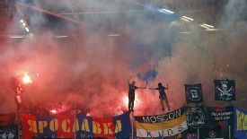 Fans of CSKA Moscow fans light up the sky at Viktoria Plzen. Their banners led to a full home stadium ban.
