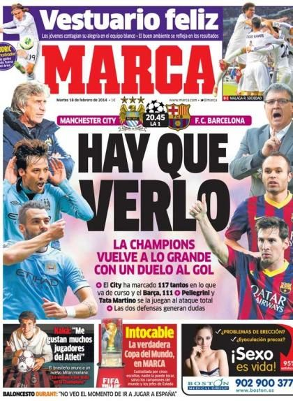 Marca's front page headline on Feb. 18 regarding City-Barca read