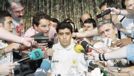 Diego Maradona is the center of media attention at the Sheraton Park Plaza hotel in Dallas, Texas on June 30, 1994. The Argentina Football Association dropped the 33-year-old forward from their World Cup soccer squad just hours before the team's final fir