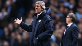 Manchester City's manager Manuel Pellegrini vents his anger on the touchline