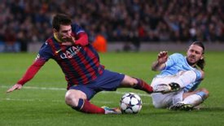 Martin Demichelis brought down Lionel Messi in the second half.