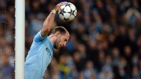 Pablo Zabaleta shows his frustration during Man City's first leg defeat to Barcelona.