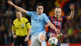 Samir Nasri and Andres Iniesta Man City vs Barcelona