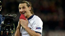 Zlatan Ibrahimovic postmatch camera celeb PSG vs Leverkusen