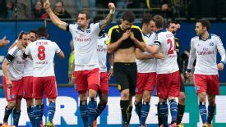 Milan Badelj celebrates as Hamburg turned it around against Dortmund.