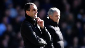 Roberto Martinez shouts his instructions from the touchline.