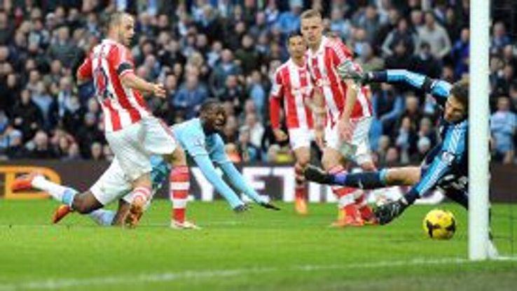Manchester City's Yaya Toure scores against Stoke.