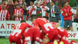 Melbourne Heart celebrate their winner against Brisbane Roar.