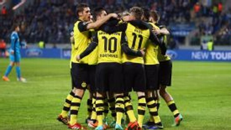 Dortmund players celebrate during their defeat of Zenit.