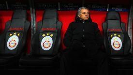 Jose Mourinho takes his place on the Galatasaray bench.