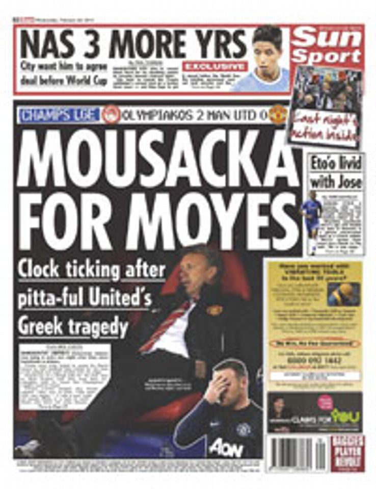 The Sun covers Manchester United's shock defeat in Greece.