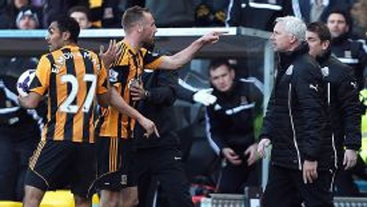 Hull's David Meyler points accusingly at Alan Pardew after being headbutted by the Newcastle manager.