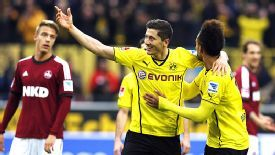 Robert Lewandowski scored Dortmund's second in an easy home win over Nurnberg.