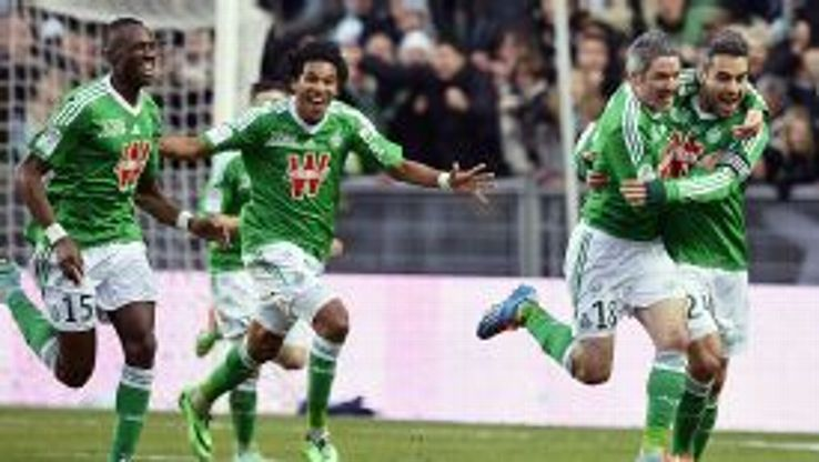 St Etienne celebrate after Fabien Lemoine scored in the win over title-chasing AS Monaco.