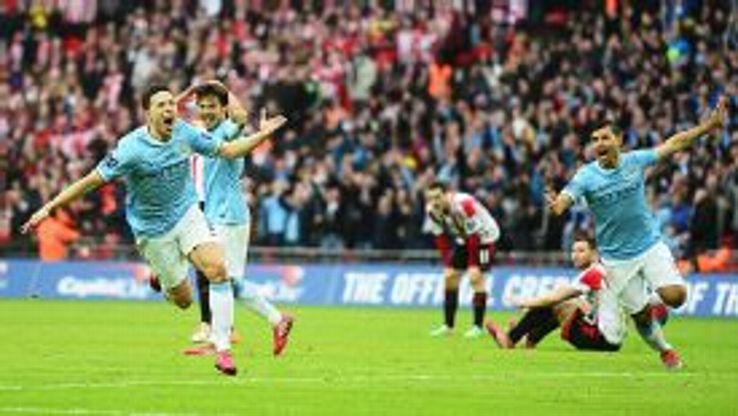 Jubilant scenes after Samir Nasri put Man City 2-1 up against Sunderland.