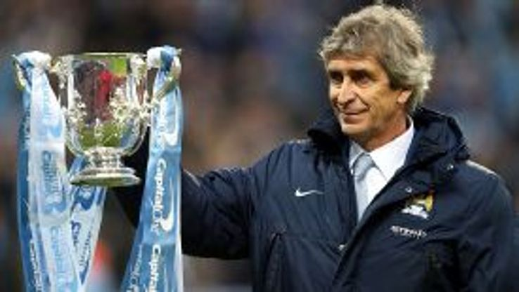Manuel Pellegrini with the Capital One Cup.