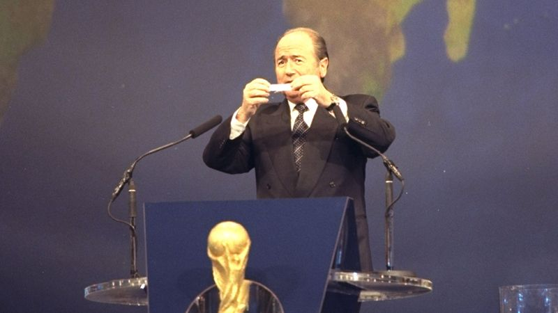 Sepp Blatter, the FIFA Secretery, makes the draw for the 1998 World Cup Finals at the Stade Velodrome in Marseille, France.