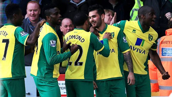 Norwich celebrate after Bradley Johnson gave the Canaries the lead against Stoke.