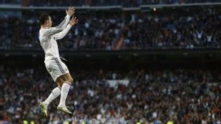 Cristiano Ronaldo jumps for joy after giving Real Madrid the lead against Levante.