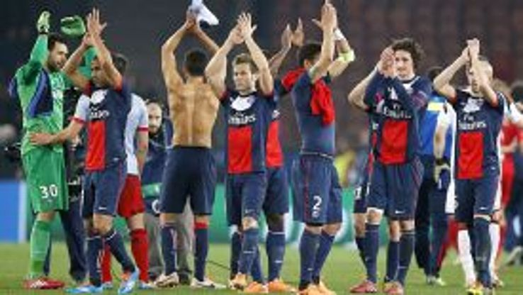 PSG players applaud their fans after easing past Bayer Leverkusen.