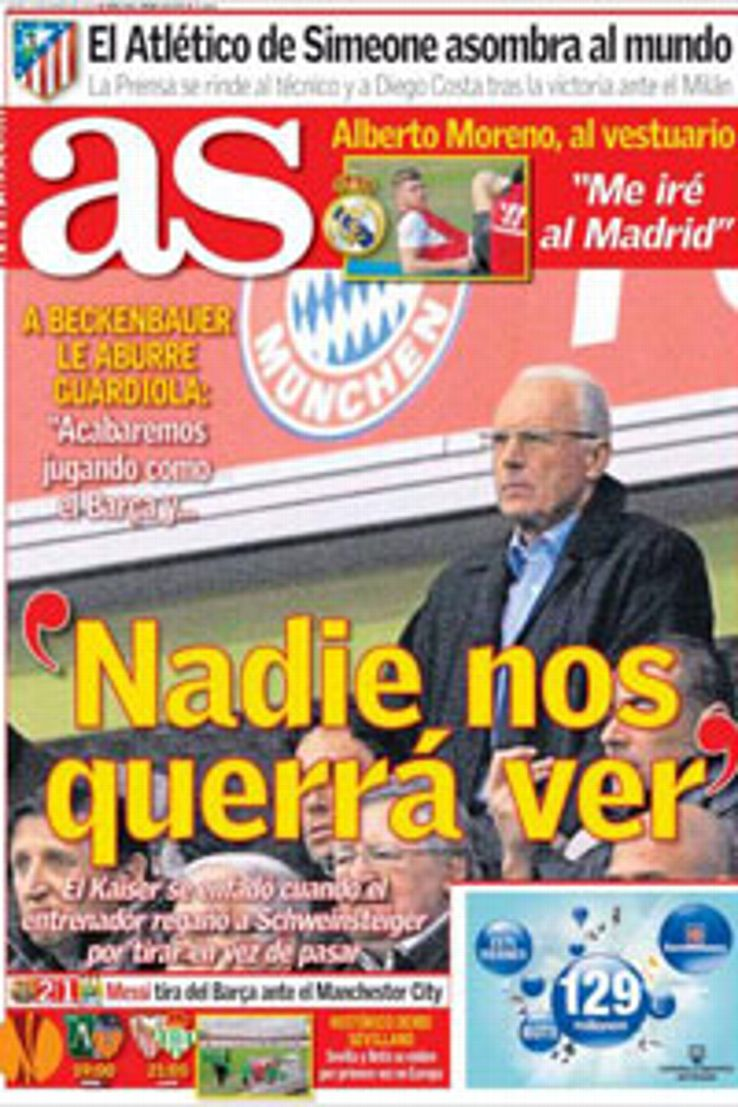 Bayern Munich president Franz Beckenbauer's criticism of Barcelona made the front cover of AS.