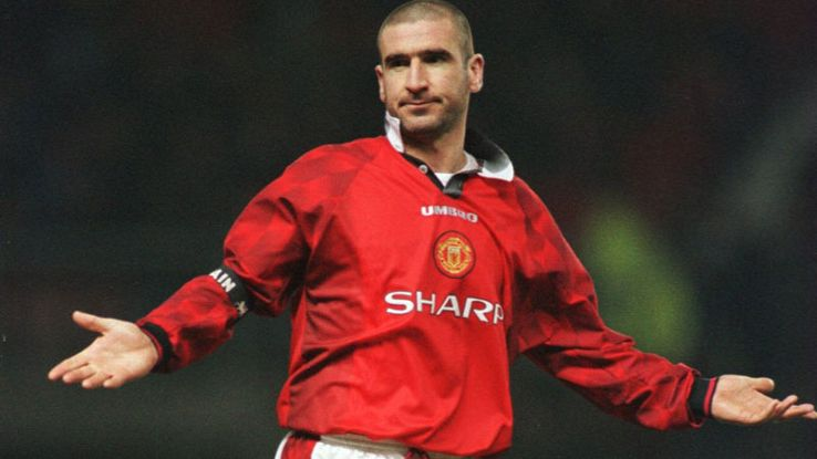 Eric Cantona gives his famous Gallic shrug after his chip.