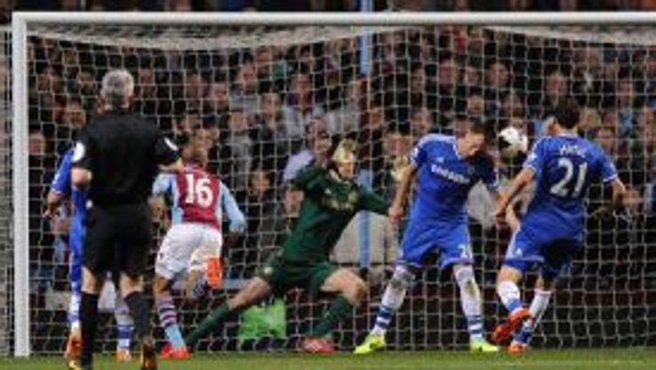 Aston Villa's Fabian Delph scores the opening goal
