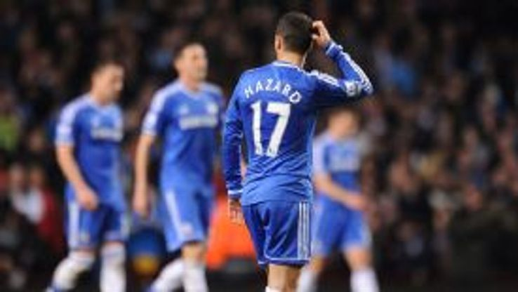 Chelsea's Eden Hazard stands dejected