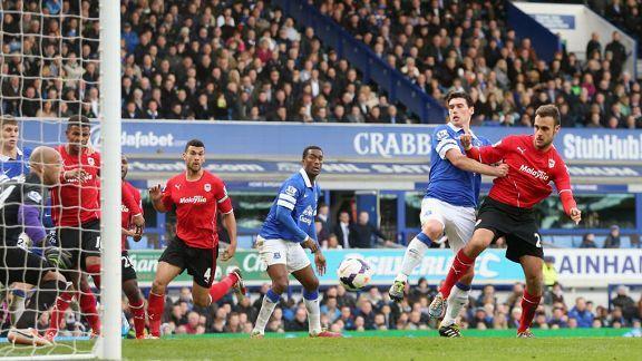 Juan Cala scores Cardiff's equalising goal at Everton.