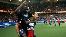 Zlatan Ibrahimovic celebrates his opener with PSG teammate Blaise Matuidi.