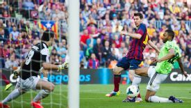 Lionel Messi equals the Barcelona record of 369 goals.