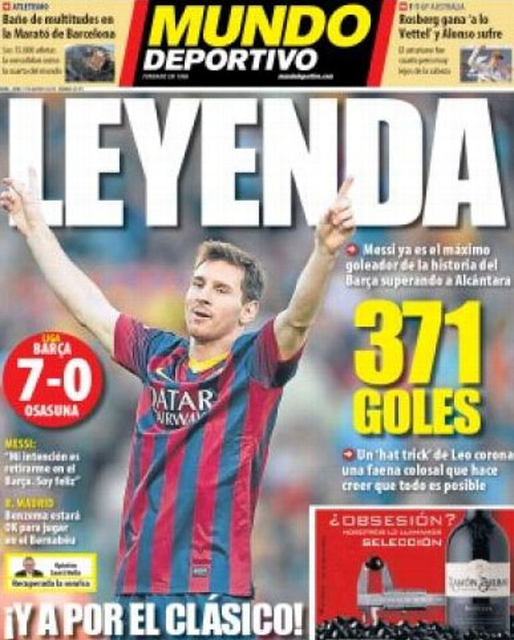 Mundo Deportivo's front cover on March 17.