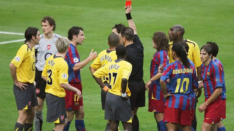 Jens Lehmann was sent off during Arsenal's Champions League final defeat against Barcelona in 2006.