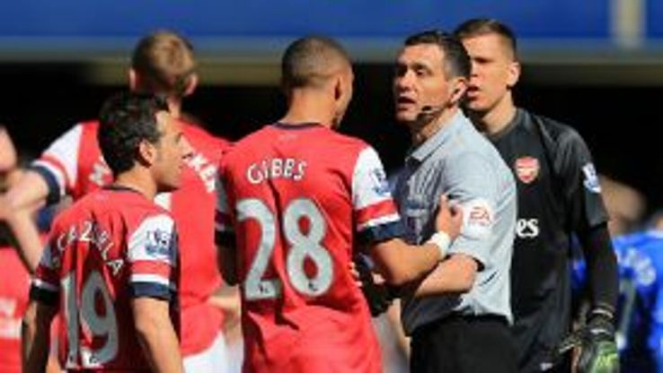 Kieran Gibbs' reacts to being dismissed at Chelsea.