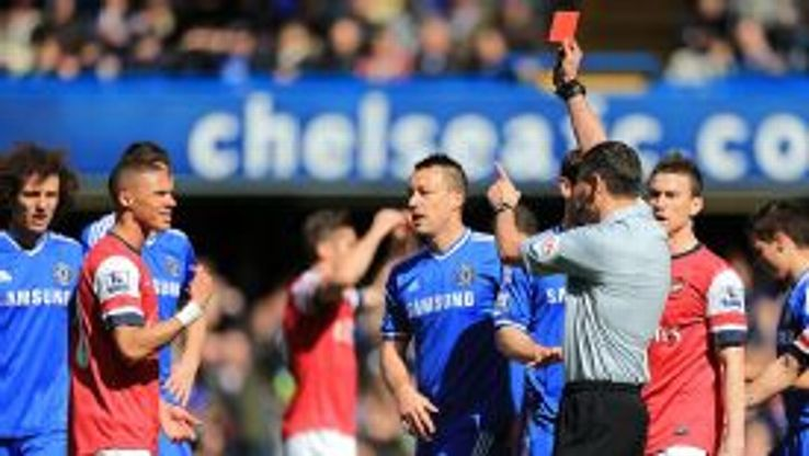 Kieran Gibbs was sent off when it was Alex Oxlade-Chamberlain who committed the handball offence.