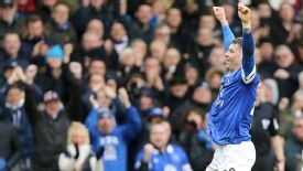 Ross Barkley celebrates scoring Everton's third goal against Swansea.
