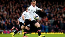 Wayne Rooney's wonderstrike from just inside West Ham's half gave Man Utd the lead at Upton Park.