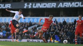 Gylfi Sigurdsson fires home the winning goal for Tottenham.