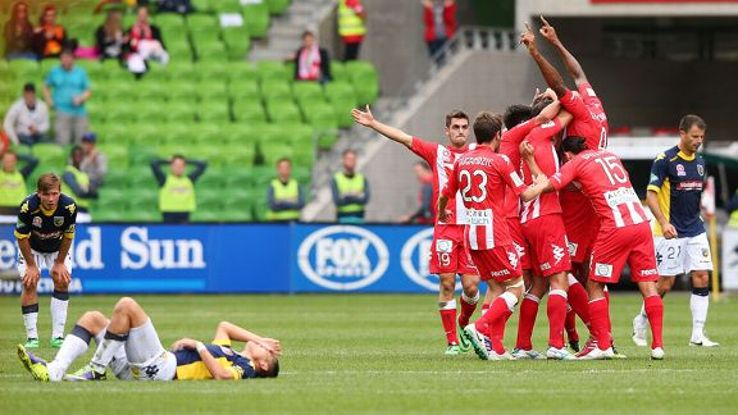 Orlando Engelaar celebrates his long-distance strike for Melbourne Heart.