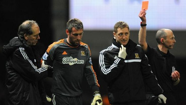 Allan McGregor was controversially sent off at Upton Park.