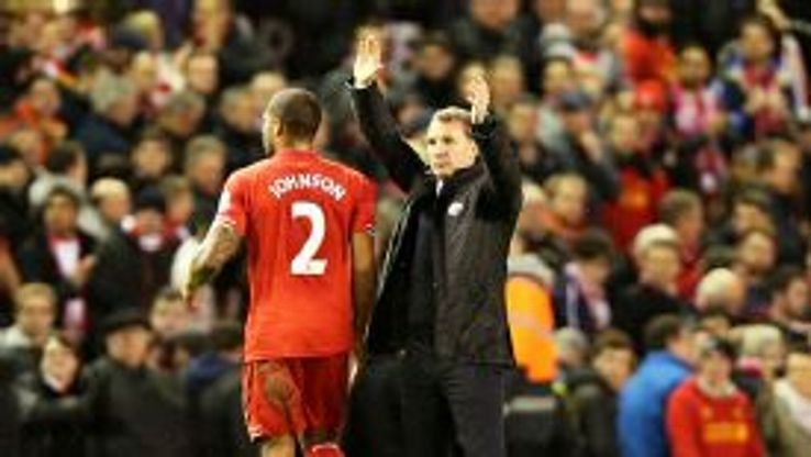 Brendan Rodgers' celebrates Liverpool's 2-1 win over Sunderland.